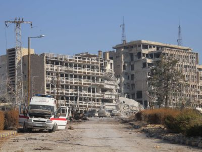 A view of Al-Kindi University Hospital, Aleppo, Syria in December 2013. Many of the academics whom Cara helps come from university hospitals.